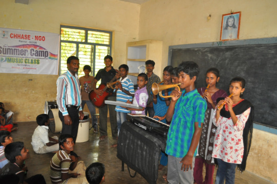 Music class in summer camp