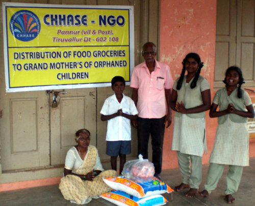 Food groceries to orphaned children