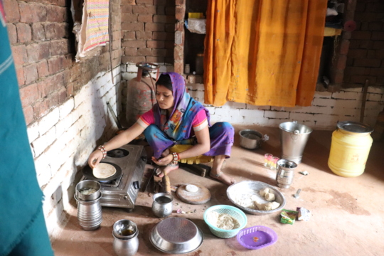 Rohit's mother, Poonam cooking for the boys
