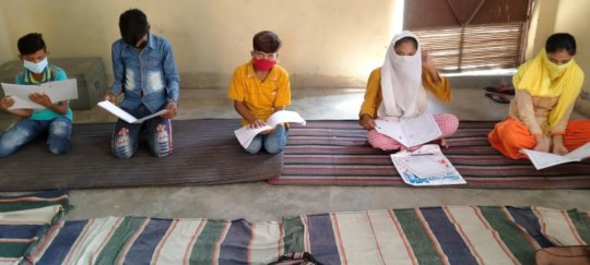 Teaching within homes in groups of five in UP