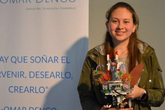 Priscilla shows her Robotics creation