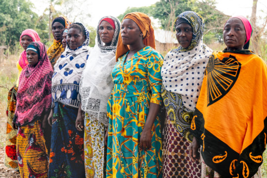 A group of farmers gathered in Kisangire, Tanzania