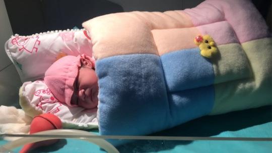 Newborn gifted cozy cover in winter