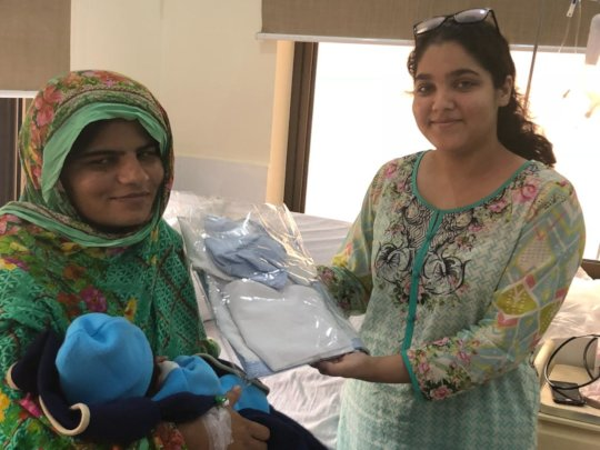 A starter kit package being given to a patient