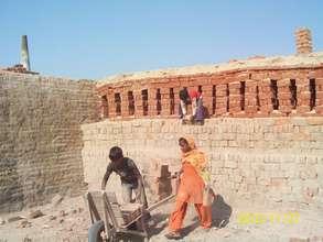 Children working in Mewat's brick kilns