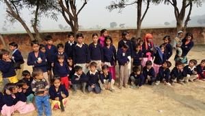 Brick Kiln Kids in their new sweaters