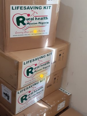 Packaged Lifesaving Kits ready for distribution