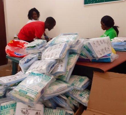Packaging the lifesaving kits ready distribution