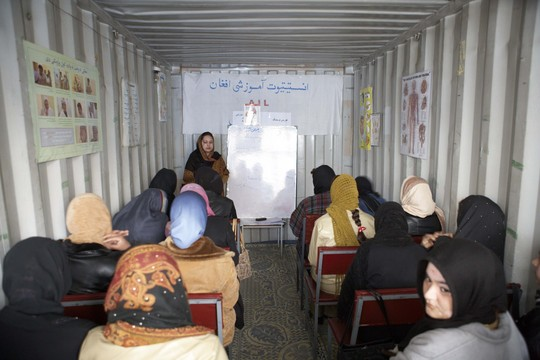 "Kabul nursing class in 'remodeled"" container"