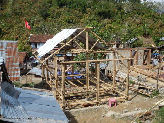Construction by our Teams of Bamboo Shelters