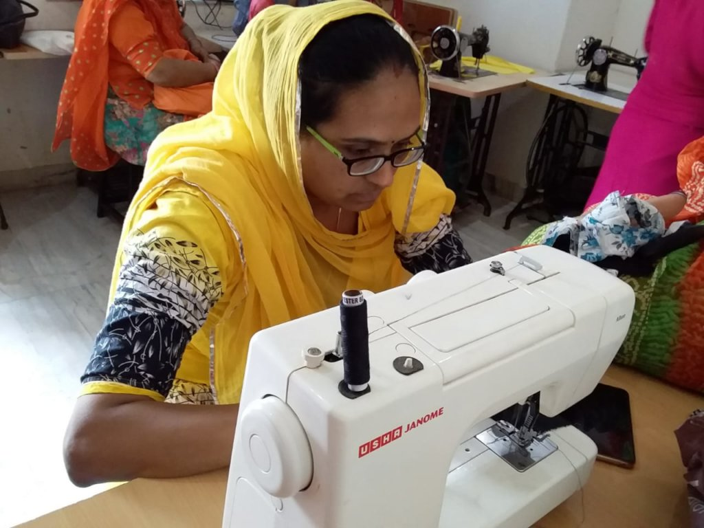 Using an electric sewing machine!