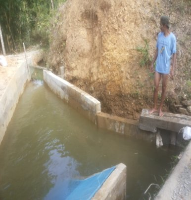 concreting of the forebay to withstand flooding