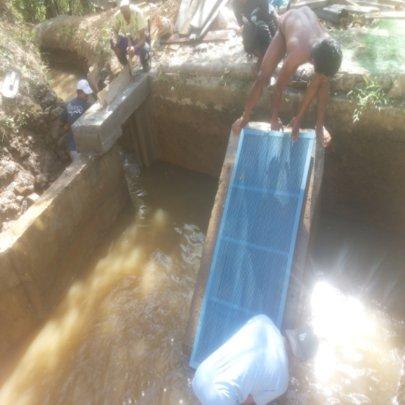 newly installed trash rack to filter debris