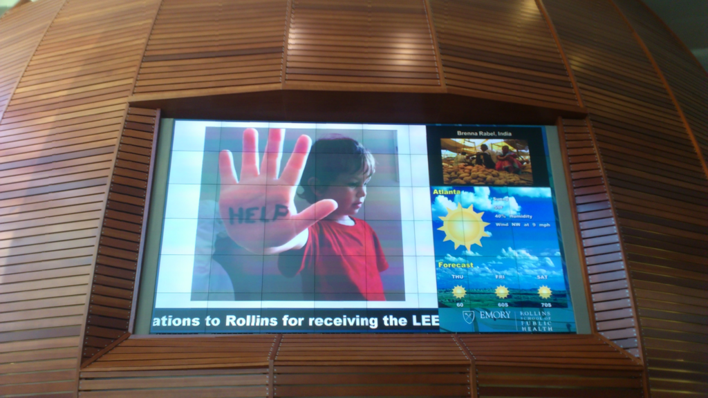 Advertising screen at Emory University