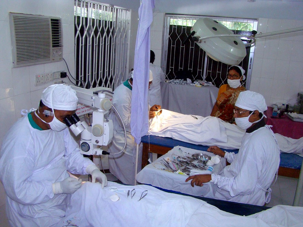 A Team of Surgeons Performing Cataract Surgery