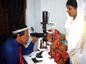 An Eye Specialist Examining a Patient