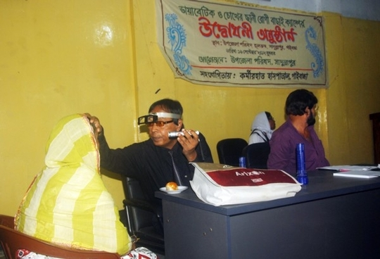 Eye Specialist Examining a Patient in a Camp