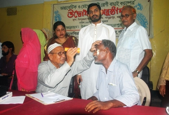 Eye Specialist Examining a Patient2 in a Camp