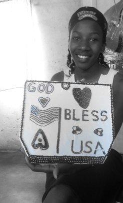 Aisha Displays her Art Piece