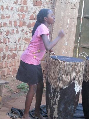 Angel learning drumming...