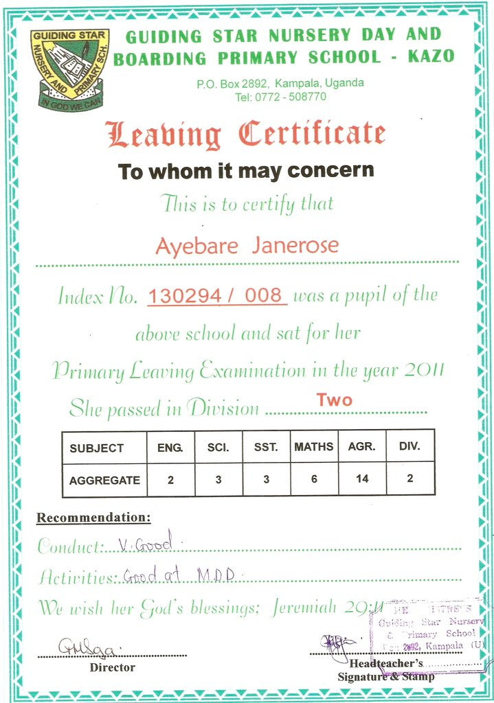 Jane-Rose_PLE Certificate