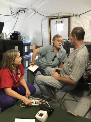 Providing care at the temporary health clinic