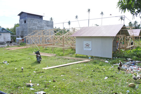Start of construction of temporary housing