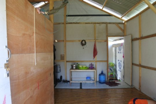 Inside view of one of the temporary houses built