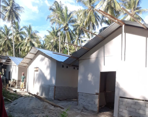 Temporary housing for 2 villages and 45 families