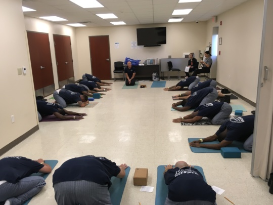 Men's Yoga inside the Montgomery Correctional Ctr