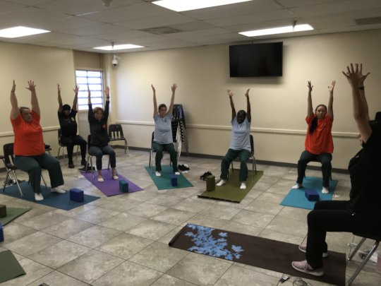 Chair Yoga inside the Community Transition Center