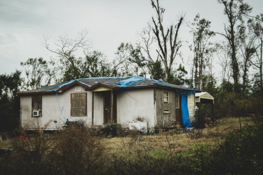 A hurricane damaged home in Jackson County