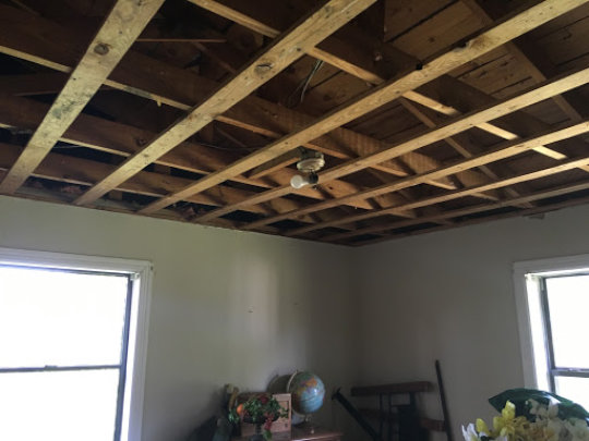 A bedroom ceiling at Michael's home (before)