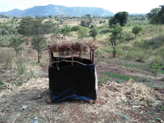 A latrine constructed by CHWs