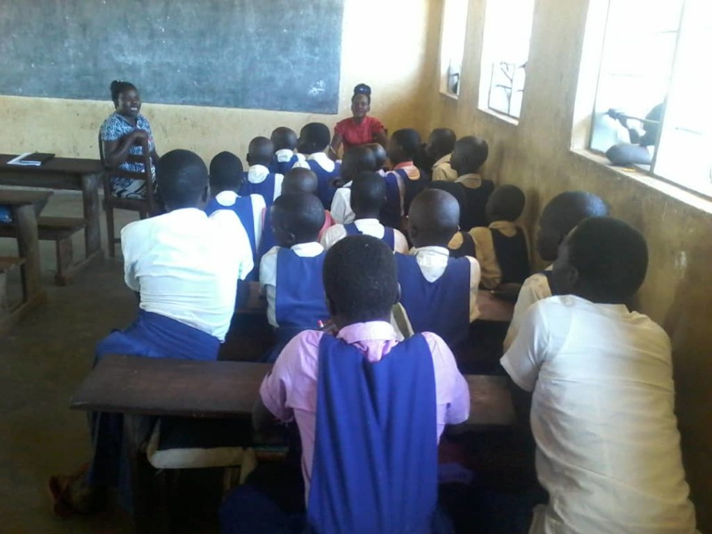Girls under Psychosocial session in school