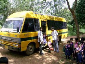 Children disembarking from the school bus