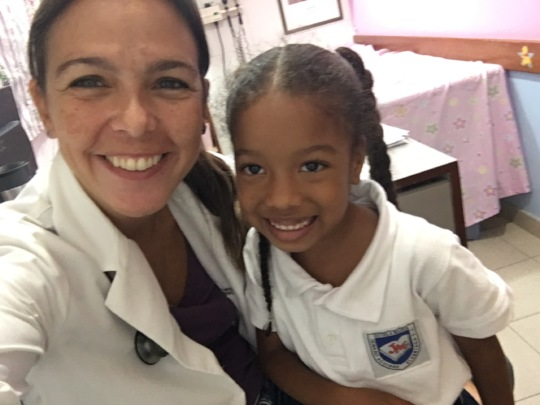 Pediatrician and an elementary school student