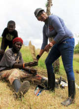 Barbara with trainee preparing props