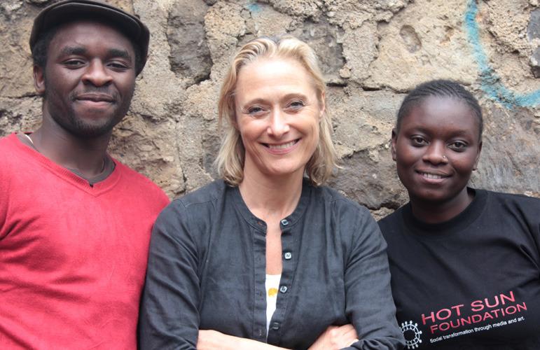 Caroline Goodall & two Kibera Film School trainees