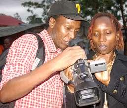 Douglas with Ivy, a Kibera Film School trainee