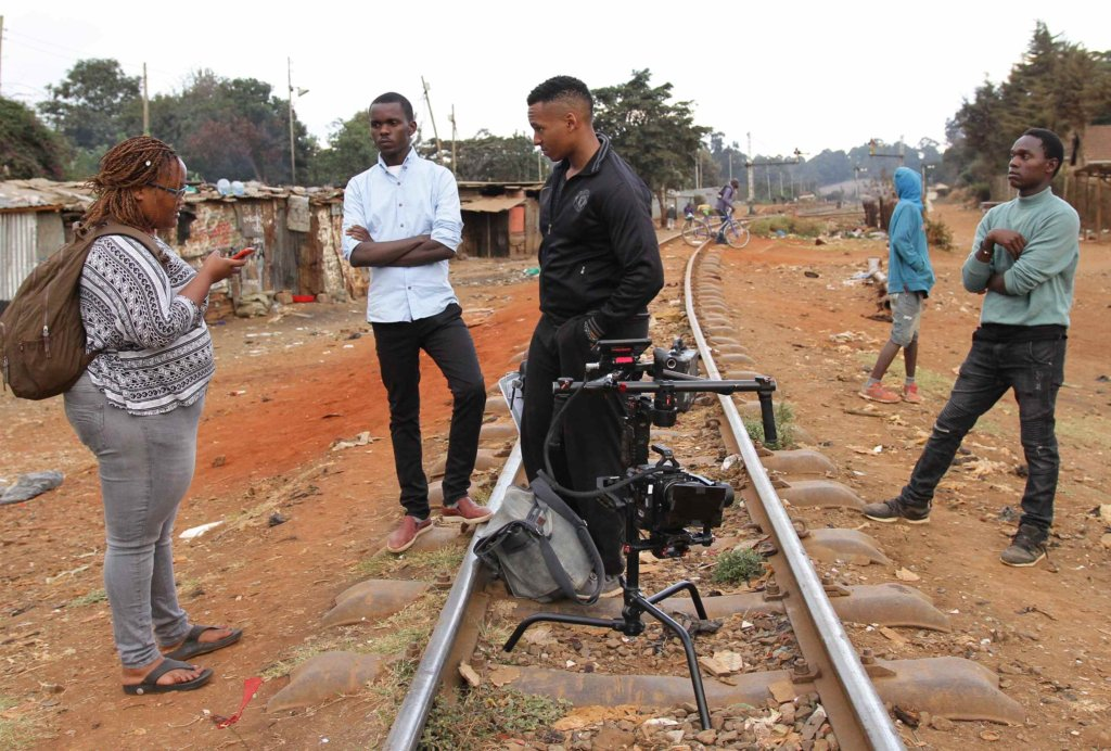 Film crew on location in Kibera