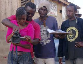 Godfrey with Kibera Film School team