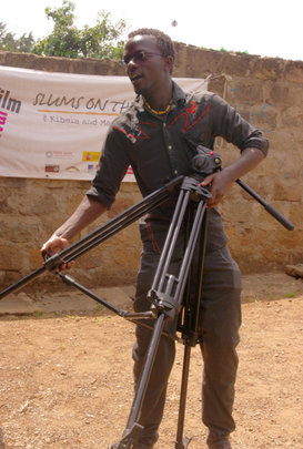 Godfrey Chogo preparing for a video project