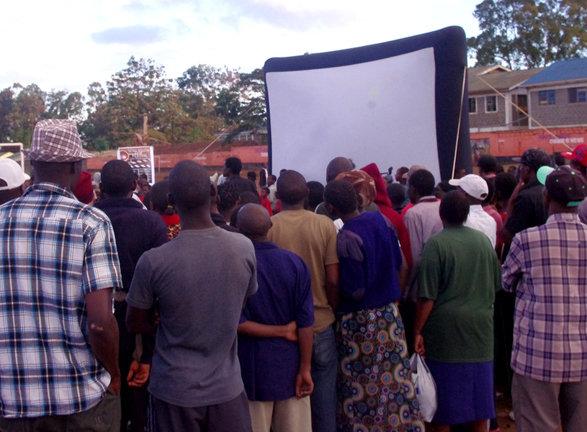 Crowd gathers Kariobangi community film screening