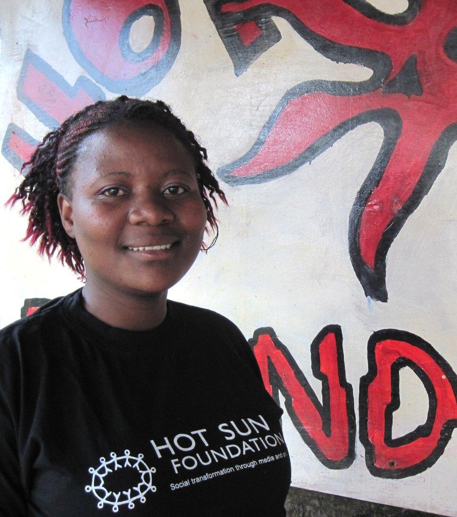 Dorcas Saisi, outside Hot Sun Foundation office