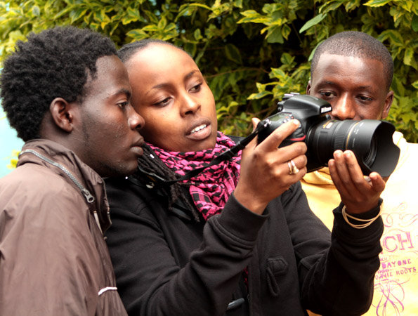 Nathan, Wambui, Charles at Kibera Film School
