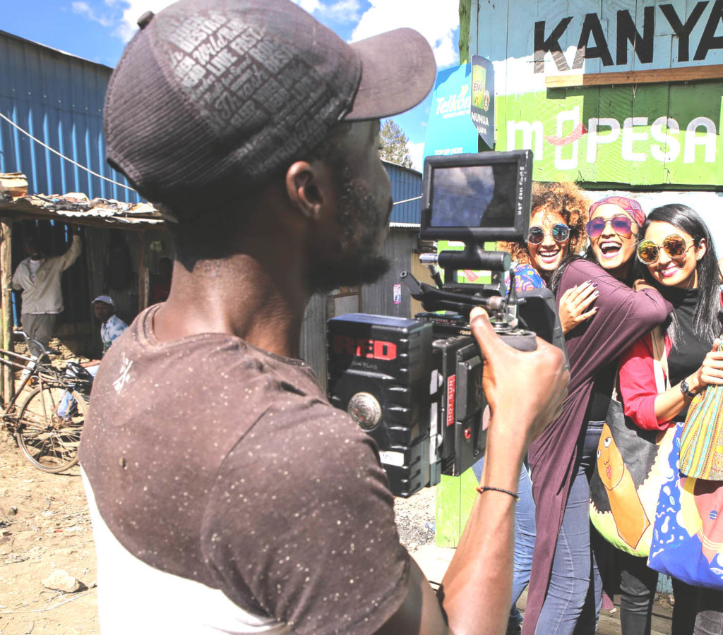 Ronald, Hot Sun Foundation grad, filming in Kibera