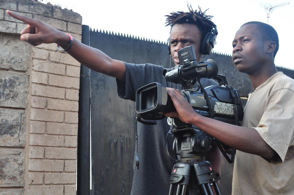 Josphat Keya with Vincent Oduor Filming in Kibera