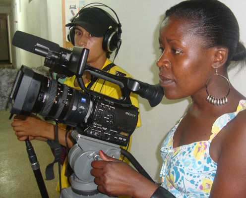 Aida, camera person, Kibera Film School grad