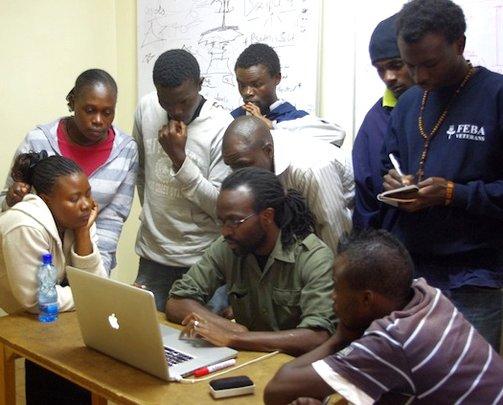 Kibera Film School class, filmmaker Allan Aligula
